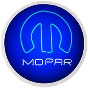 Mopar Neon Sign Round Beach Towel