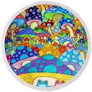 More Frogs Toads And Magic Mushrooms Round Beach Towel