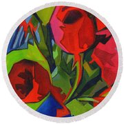 More Red Tulips  Round Beach Towel