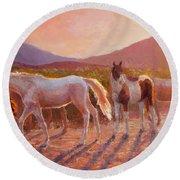 More Than Light Arizona Sunset And Wild Horses Round Beach Towel