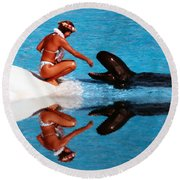 Round Beach Towel featuring the photograph More Treats Please Altered Version II by Jim Fitzpatrick