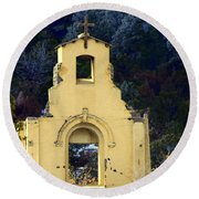 Round Beach Towel featuring the photograph Mountain Mission Church by Barbara Chichester