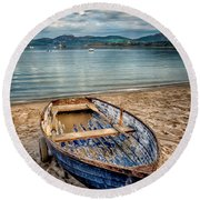 Round Beach Towel featuring the photograph Morfa Nefyn Boat by Adrian Evans