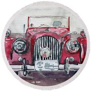Round Beach Towel featuring the painting Morgan by Anna Ruzsan