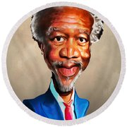 Morgan Freeman Round Beach Towel by Anthony Mwangi