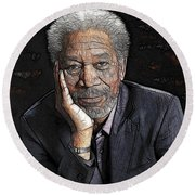 Round Beach Towel featuring the painting Morgan Freeman  by Georgeta Blanaru