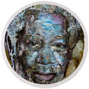 Round Beach Towel featuring the painting Morgan In Blue by Laur Iduc