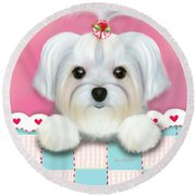 Morkie Shelly Round Beach Towel