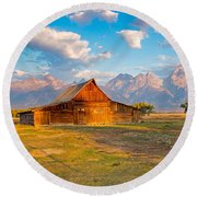 Mormon Row And The Grand Teton Round Beach Towel