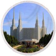 Mormon Temple Dc Round Beach Towel by Patti Whitten