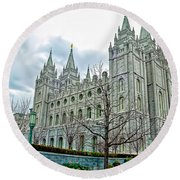 Mormon Temple In Early Spring Round Beach Towel