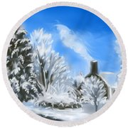 Morning After The Snowstorm  Round Beach Towel