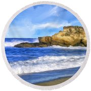 Morning At Spooners Cove Round Beach Towel