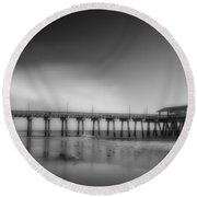 Round Beach Towel featuring the photograph Morning At Tybee Island Pier by Frank Bright