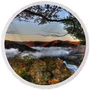 Morning Cheat River Valley Round Beach Towel