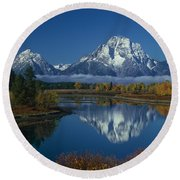 Morning Cloud Layer Oxbow Bend In Fall Grand Tetons National Park Wyoming Round Beach Towel