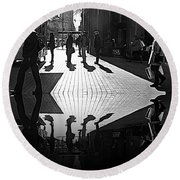 Round Beach Towel featuring the photograph Morning Coffee Line On The Streets Of New York City by Lilliana Mendez