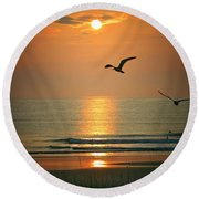 Morning Comes  Round Beach Towel