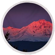 Morning Dawn On Two Of Three Sisters Mountain Tops In Oregon Round Beach Towel
