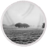 Round Beach Towel featuring the photograph Morning Fog by Howard Salmon