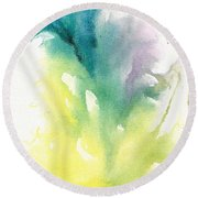 Round Beach Towel featuring the painting Morning Glory Abstract by Frank Bright