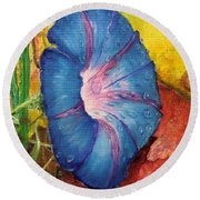 Morning Glory Bloom In Apples Round Beach Towel