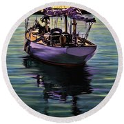 Round Beach Towel featuring the painting Morning Has Broken by David  Van Hulst