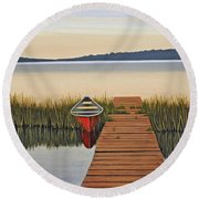 Round Beach Towel featuring the painting Morning Has Broken by Kenneth M  Kirsch