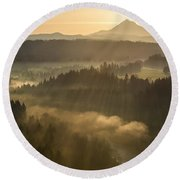 Morning Has Broken Round Beach Towel by Lori Grimmett