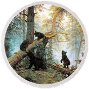 Morning In A Pine Forest Round Beach Towel