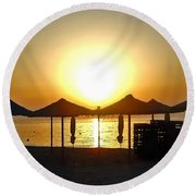 Morning In Greece Round Beach Towel