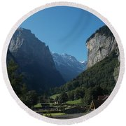 Morning In Lauterbrunnen Round Beach Towel