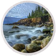 Morning In Monument Cove Round Beach Towel