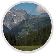 Morning In The Alps Round Beach Towel