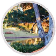 Morning In The Park Round Beach Towel