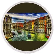 Round Beach Towel featuring the painting Beautiful Morning In Venice, Italy by Georgi Dimitrov
