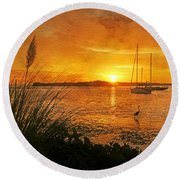 Morning Light - Florida Sunrise Round Beach Towel by HH Photography of Florida