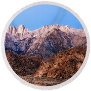 Morning Light Mount Whitney Round Beach Towel