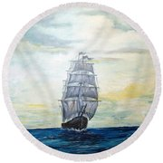 Round Beach Towel featuring the painting Morning Light On The Atlantic by Lee Piper