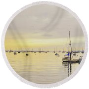 Morning Light Rockland Maine Round Beach Towel