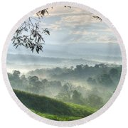 Morning Mist Round Beach Towel by Heiko Koehrer-Wagner