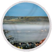 Morning Mist Over Lissycasey Round Beach Towel