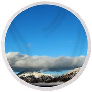 Round Beach Towel featuring the photograph Morning Moon Over Spanish Peaks by Barbara Chichester