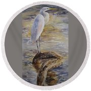 Morning Perch-egret Round Beach Towel