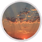Morning Rays Round Beach Towel by E Faithe Lester