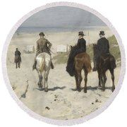 Morning Ride Along The Beach Round Beach Towel