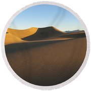 Round Beach Towel featuring the photograph Morning Shadows by Joe Schofield