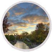 Morning Sky On The Fox River Round Beach Towel by Daniel Sheldon