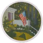 Morning Sun On Old Glory Round Beach Towel