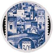 Morocco Vintage Postage Stamp Round Beach Towel